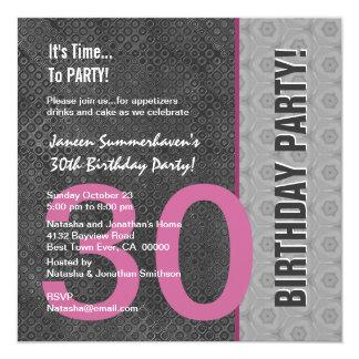 30th Birthday Modern Gray Silver Pink C949 13 Cm X 13 Cm Square Invitation Card