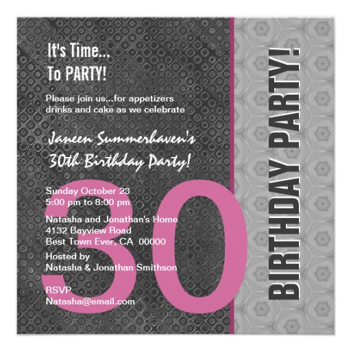 30th Birthday Modern Gray Silver Pink C949 Announcement