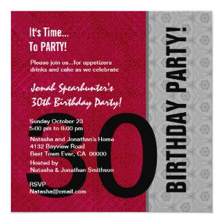 30th Birthday Modern Red Silver Black W1480 13 Cm X 13 Cm Square Invitation Card