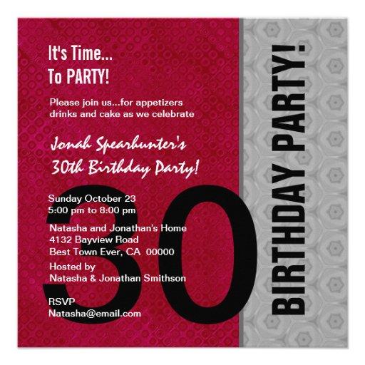 30th Birthday Modern Red Silver Black W1480 Custom Invites