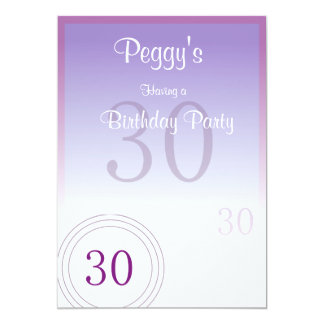 30th Birthday Numbers 5x7 Paper Invitation Card