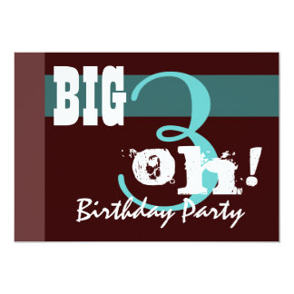 30th Birthday Party - Aqua Chocolate Template Invitations