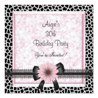 30th Birthday Party Black Giraffe Pink Floral Bow Custom Invite