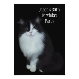 30th Birthday Party Black & White Cat 13 Cm X 18 Cm Invitation Card