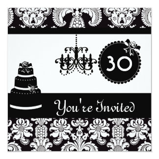 30th Birthday Party Black & White Damask Inviites Card