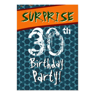 30th Birthday Party Blue and Teal Geometric Stars Card