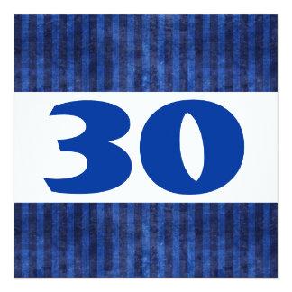 30th Birthday Party Blue Stripes Modern W867 Card