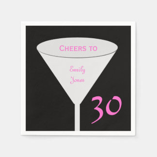 """30th Birthday Party """"Cheers To"""" Paper Napkins"""
