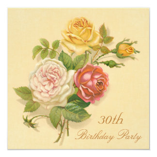 30th Birthday Party Chic Vintage Roses Card