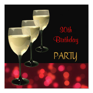 30th Birthday Party Drinks Glasses Black Red Card