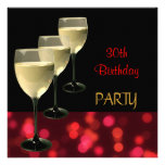 30th Birthday Party Drinks Glasses Black Red Invitation