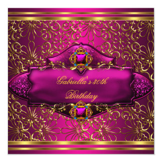 30th Birthday Party Exotic Pink Gold Card