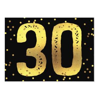 30th Birthday Party Faux Gold Foil Confetti Black 13 Cm X 18 Cm Invitation Card