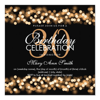 30th Birthday Party Faux Gold Hollywood Glam 13 Cm X 13 Cm Square Invitation Card