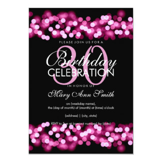 30th Birthday Party Faux Pink Hollywood Glam 13 Cm X 18 Cm Invitation Card
