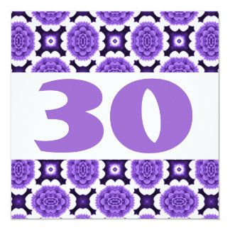 30th Birthday Party Festive Purple Flowers W936 5.25x5.25 Square Paper Invitation Card