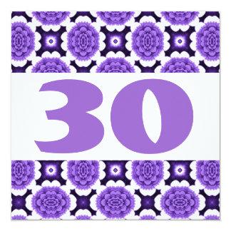 "30th Birthday Party Festive Purple Flowers W936 5.25"" Square Invitation Card"