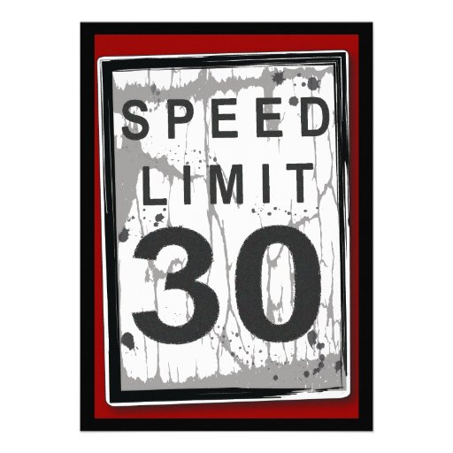 30th Birthday Party Grungy Speed Limit Sign Announcement