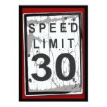 30th Birthday Party Grungy Speed Limit Sign 13 Cm X 18 Cm Invitation Card