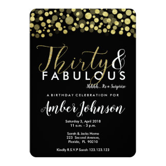 30th birthday party invitation, black and gold card
