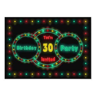 30TH BIRTHDAY PARTY INVITATION - NEON LIGHTS