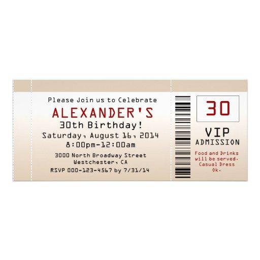 30th Birthday Party Invitation Sand Ticket
