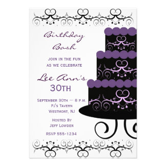 30th Birthday Party Invitations In Purple Swirl