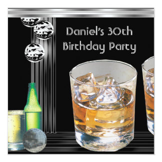 30th Birthday Party Mens Drinks Black Silver Personalized Invitations