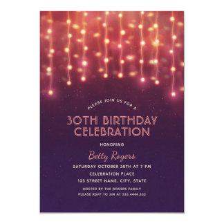 30th Birthday Party Modern Glitter String Lights Card