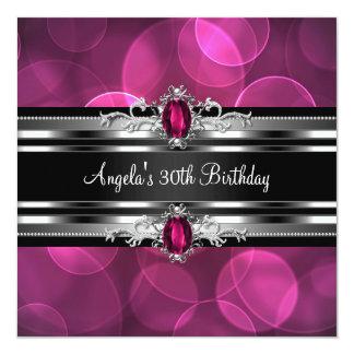 30th Birthday Party Pink Gem Bubbles Silver Black 13 Cm X 13 Cm Square Invitation Card