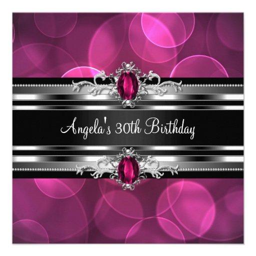 30th Birthday Party Pink Gem Bubbles Silver Black Custom Invite