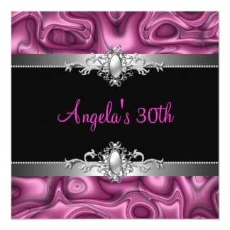 30th Birthday Party Pink Silver Black Abstract Invitations