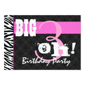 30th Birthday Party Pink Zebra C431 Template 13 Cm X 18 Cm Invitation Card