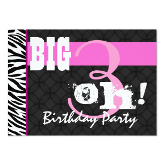 30th Birthday Party Pink Zebra C431 Template Card