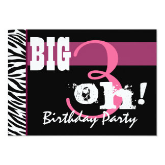 30th Birthday Party - Pink Zebra Template Card