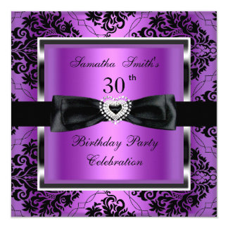 30th Birthday Party Purple Damask Silver Black Card