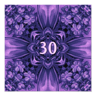 30th Birthday Party Purple Flowers and Bow Linen Card