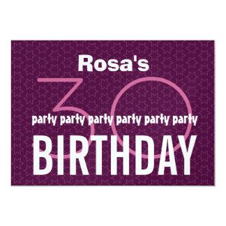 30th Birthday Party Purple Pink Stars Metallic Custom Announcements