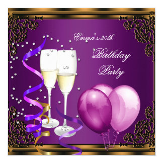 30th Birthday Party Purple Plum Gold Balloons 5.25x5.25 Square Paper Invitation Card