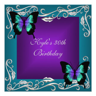 30th Birthday Party Purple Teal Butterflies Silver Personalized Announcement