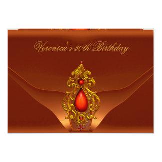30th Birthday Party Rust Bronze Orange Jewel 5x7 Paper Invitation Card
