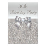 30th Birthday Party Silver Sequins, Bow & Diamond Personalized Invitations