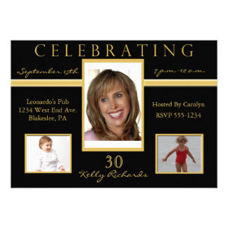 30th Birthday Party Tri Photo Invitations