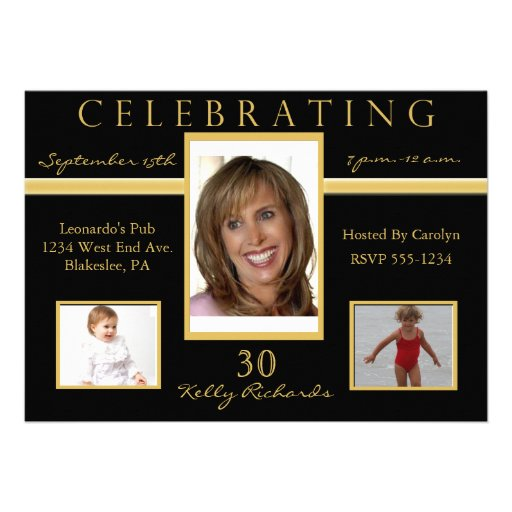 30th Birthday Party Tri Photo Invitations