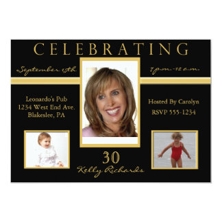"30th Birthday Party Tri Photo Invitations 5"" X 7"" Invitation Card"