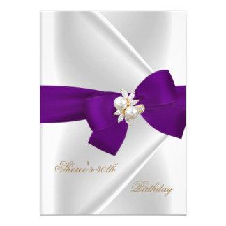 30th Birthday Party White Pearl Jewel Purple Bow 13 Cm X 18 Cm Invitation Card