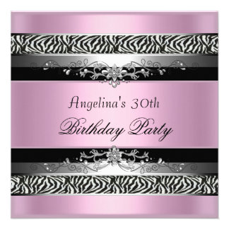 30th Birthday Party Zebra Black Silver Pink Personalized Invite