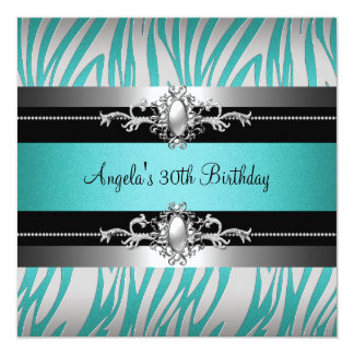 30th Birthday Party Zebra Teal Blue Silver Black Card