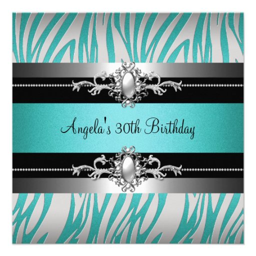 30th Birthday Party Zebra Teal Blue Silver Black Personalized Announcement