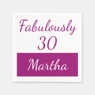 30th Birthday Personalize Fabulously 30 pink Disposable Serviettes